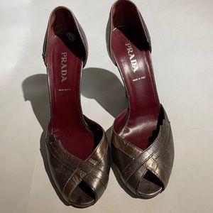 Metallic Prada Heels